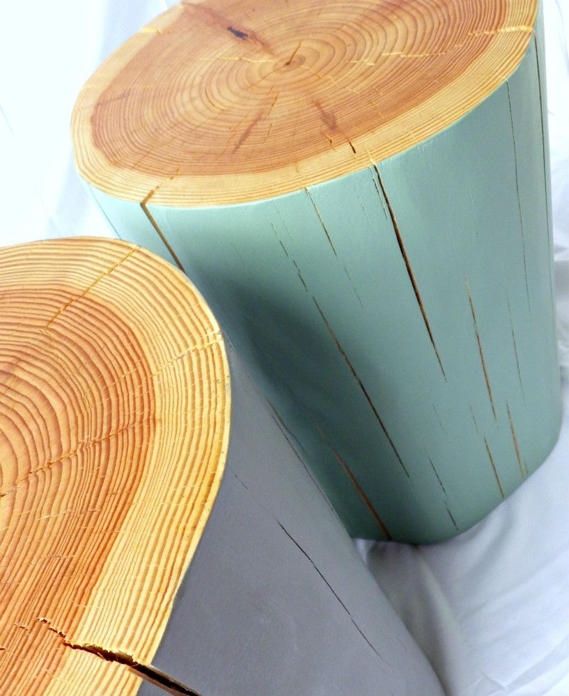HAND PAINTED LOG SIDE TABLE / STOOL