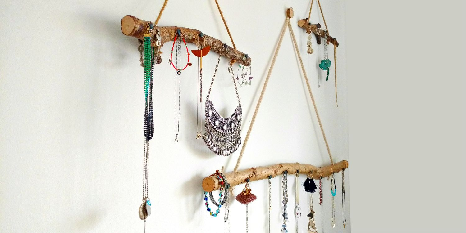 Bohemian style modern rustic Branch Hangers to display and store jewellery