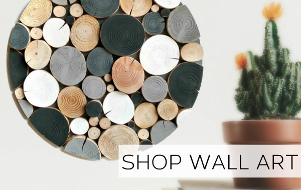 Stylish and unique log wall art for home or hospitality environments.
