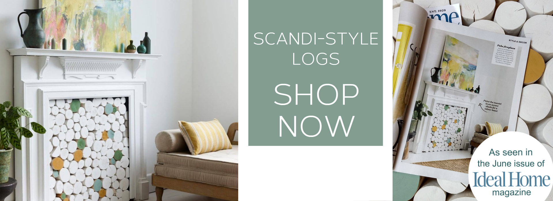 Decorative round stacking logs to stack and display in an  empty fireplace or unused alcove.